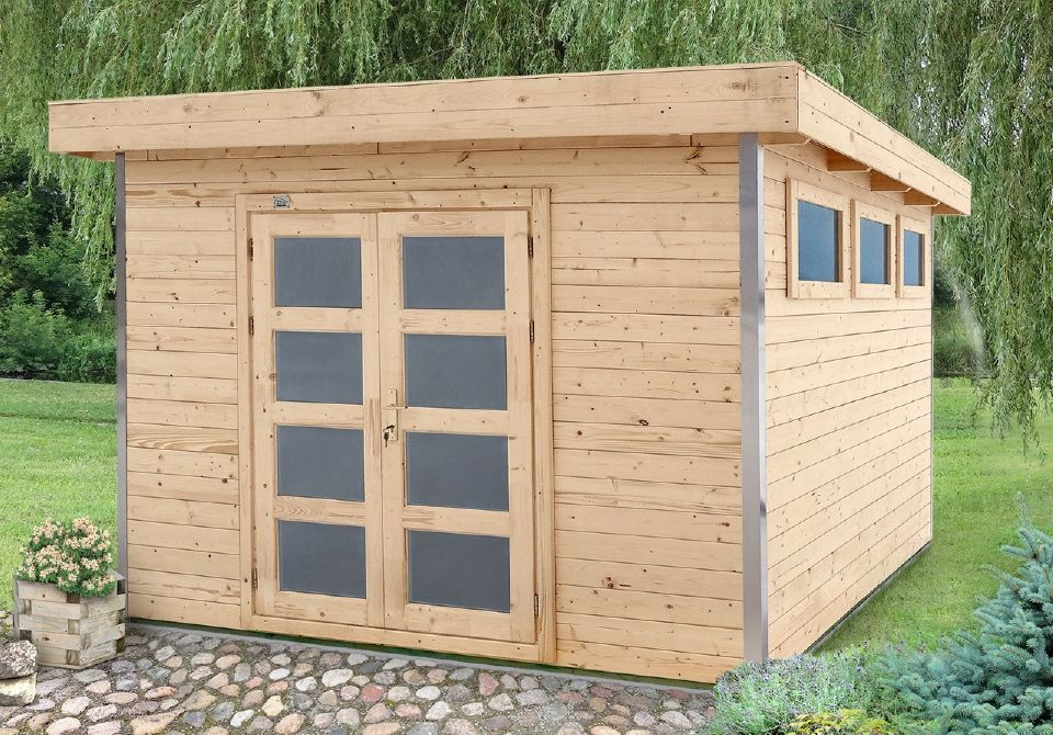 Abri bois kit avec corni re aluminium alisier 9 for Abris de jardin en kit
