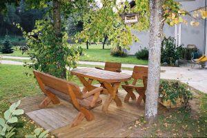 Salon de jardin en bois massif – Salon de jardin du style rustique ...