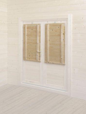 Abri bois kti option paire de volet double porte for Volet occultant interieur