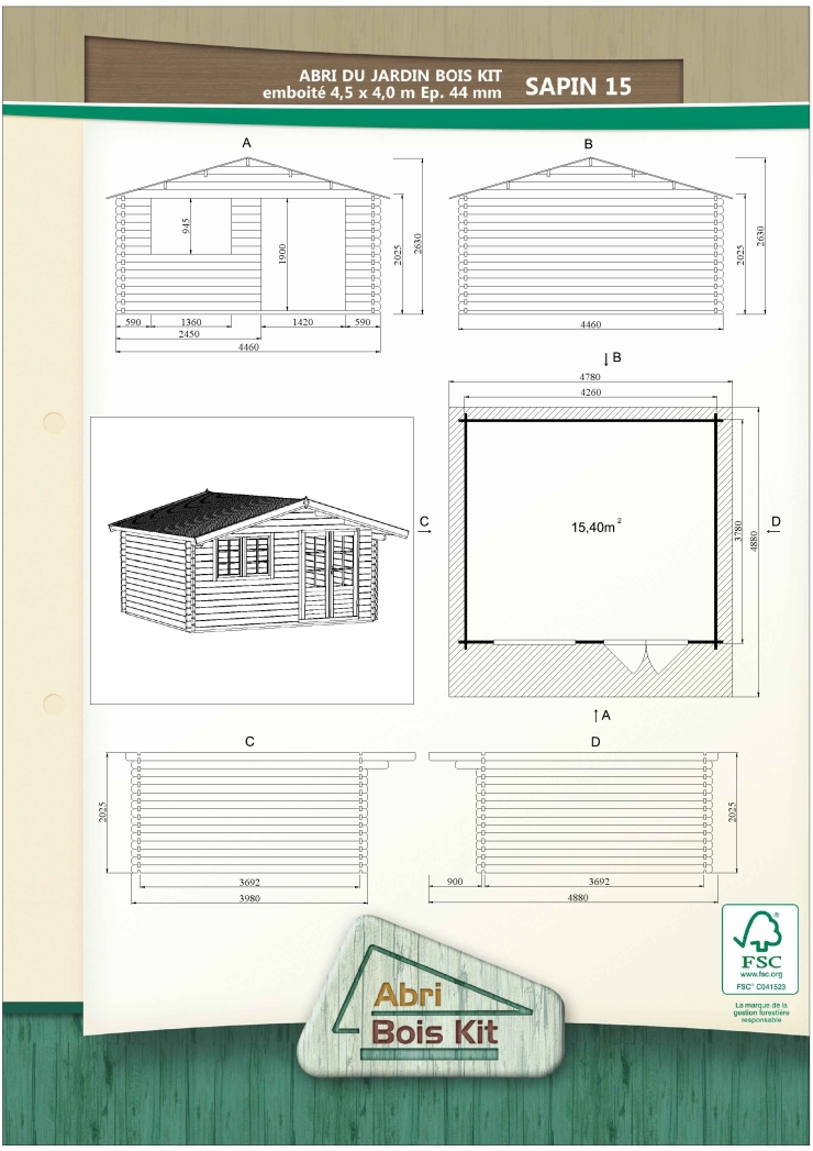 abri de jardin embo ter sapin 15 abri bois kit. Black Bedroom Furniture Sets. Home Design Ideas