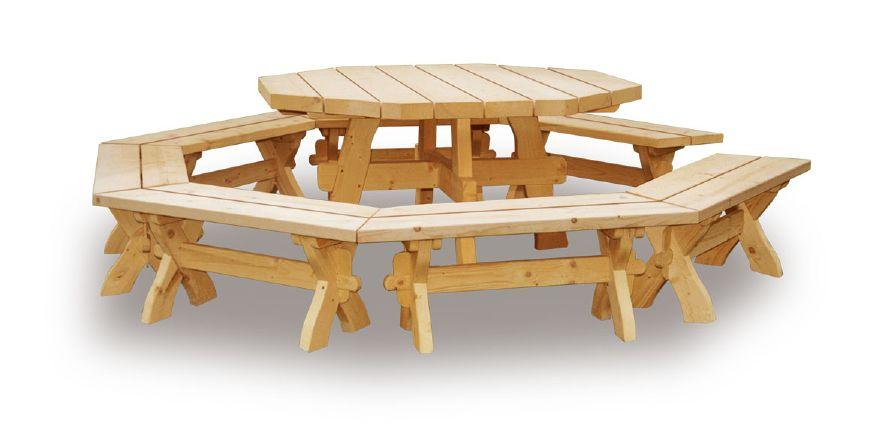 Salon de jardin en bois massif pour les gloriettes salon for Table exterieur octogonale