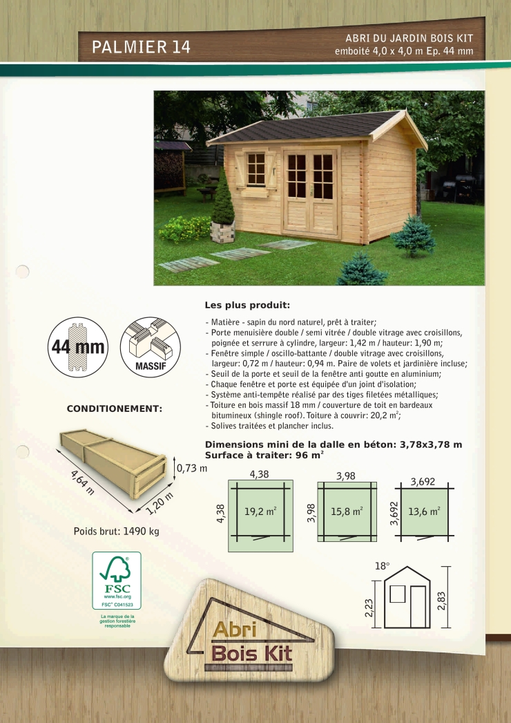 abri jardin bois en kit