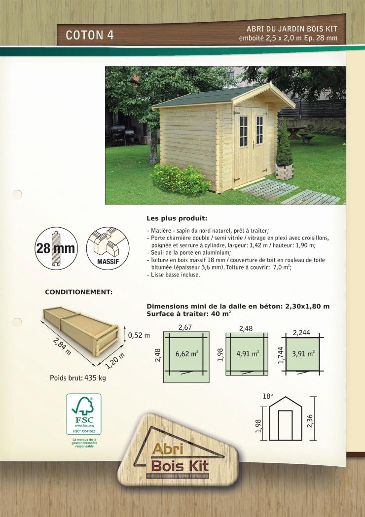 Abri de jardin brut embo ter abris de jardin en bois for Abri de jardin autorisation